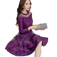 Hot Sale Korean Women Lace Dresses 2017 Autumn Vintage O Neck Slim Sexy Party Dress Vestidos