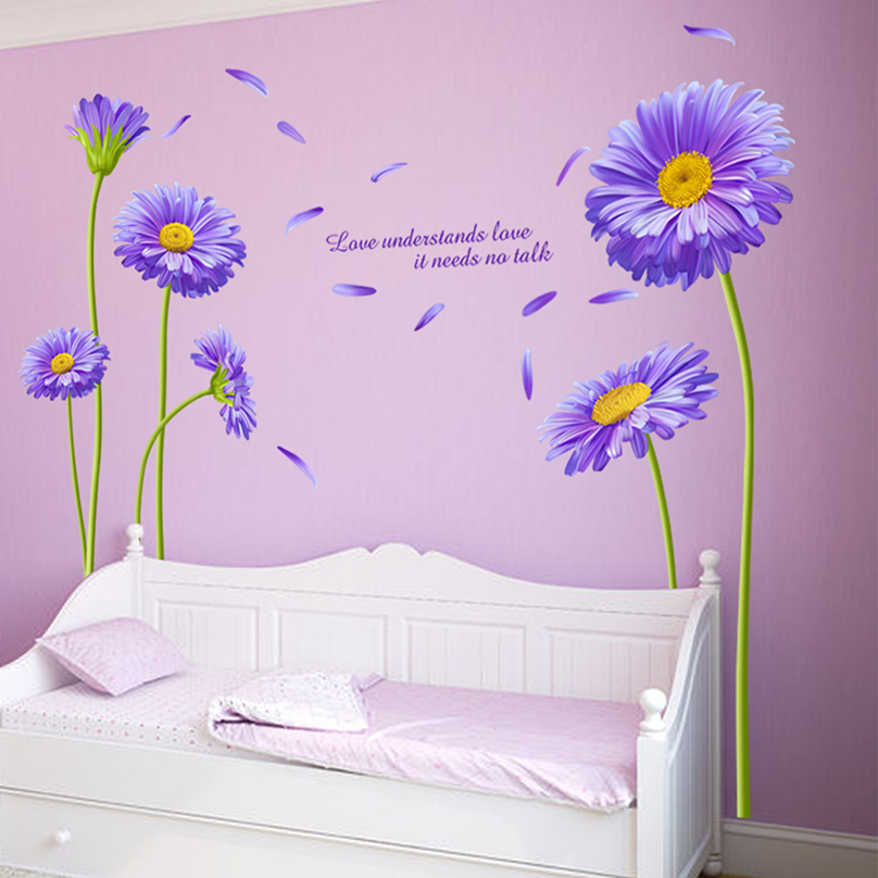 Aliexpress Buy Shijuehezi New York Aster Flower Blossom Wall