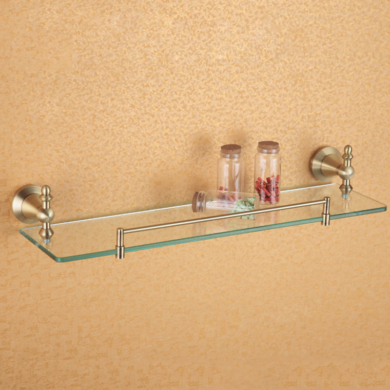Rose Gold Single Glass Shelves Vintage Shower Soap Shampoo Rack Wall ...