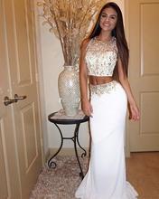 Hq 2017 mädchen zweiteiler prom kleider oansatz sleeveless prickelnde perlen kristalle abendkleider weiß gold perlen prom dress