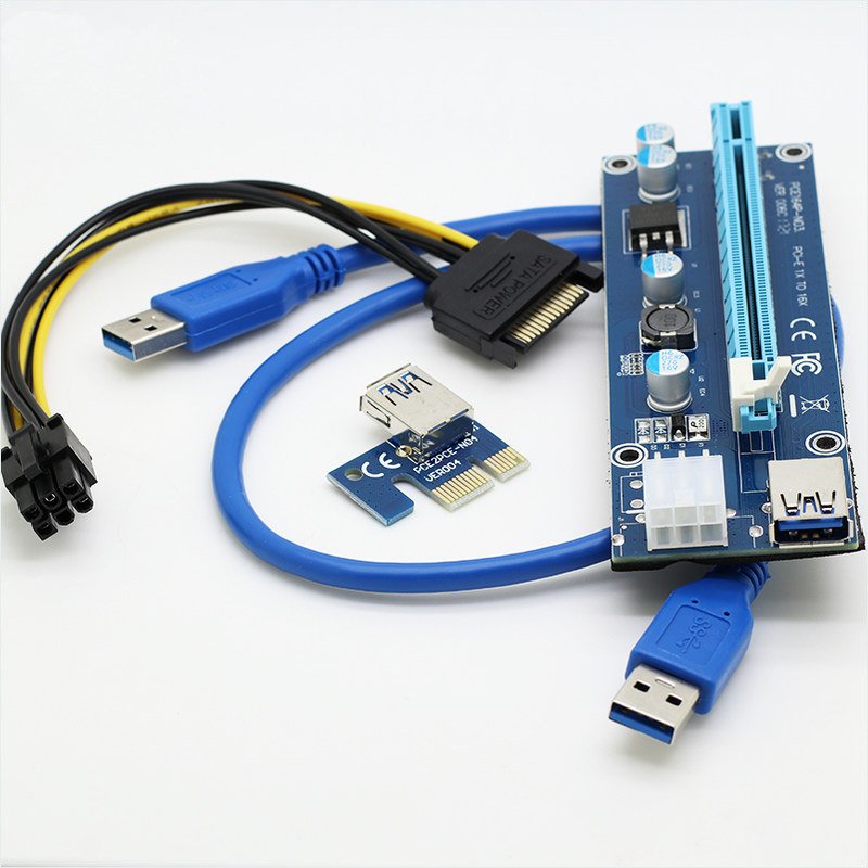 NEW5pcs Riser USB 3.0 PCIe 1x to 16x PCI Express Extender Riser Card with SATA 15pin to 6pin power cable for bitcoin mining BTC