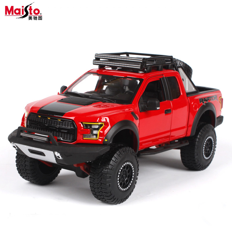 Maisto 2017 Ford F150 Raptor Pickup 1:24 Scale Car Model Alloy Toys Diecasts & Toy Vehicles High Quality Collection Gift maisto 1959 cadillac eldorado biarritz 1 18 scale alloy model metal diecast car toys high quality collection kids toys gift