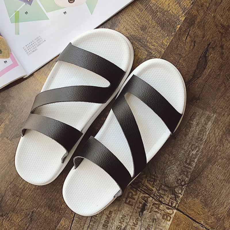 Women Sandals 2018 New Flat Heel Concise Simple Style All Match Slip on Sandals for Female Beach Slippers Solid Color Size 35-39 women sandals elegant style 2018 new square heel solid color medium heel black beige gray female summer sandals plus size 34 40