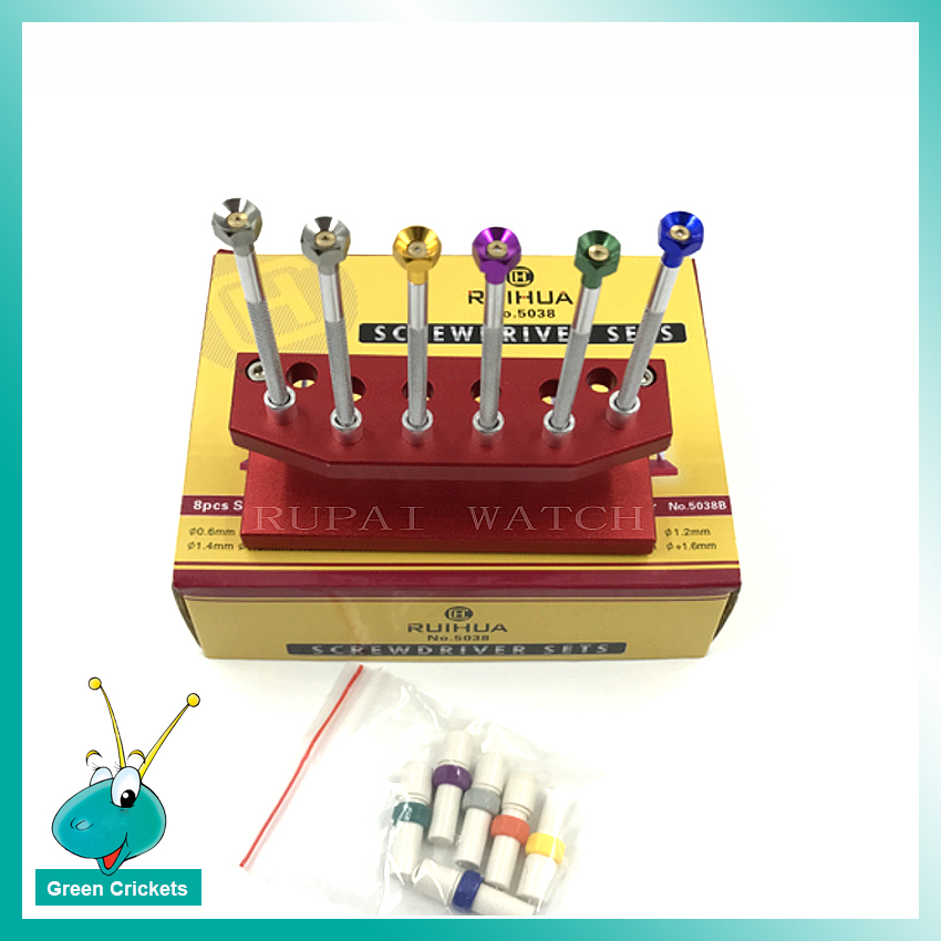6pcs/set Watch Repair Steel Watch Screwdrivers set Flat Tip screwdriver with Replacement Tips for each size screwdriver