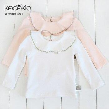 цена на Kacakid new baby girls clothing sweet girl doll collar T-shirt children cotton long-sleeved shirt