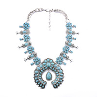 2016 Newest Retro Vintage Boho Chic Necklace Tibetan Silver Turquoise Necklaces Pendants Exotic Jewelry