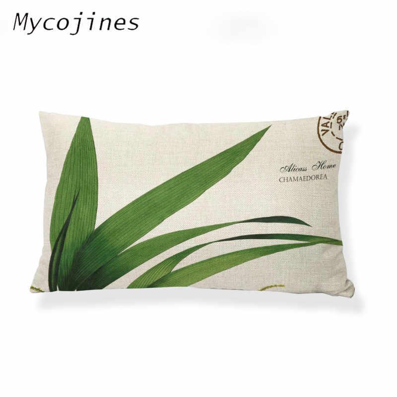 Capa de almofada Pequeno Fresco Natural Tropical Plantas Green Leaves Impressão Funda Cojin 30*50 cm Home Decor Sofá Pequeno capas de almofadas