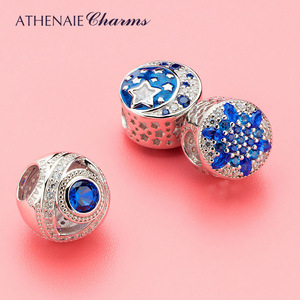 Image 3 - ATHENAIE 925 Sterling Silver Watchful Eye Blue Clear CZ Bead Charms Fit European Women Bracelets Christmas Gift Jewelry