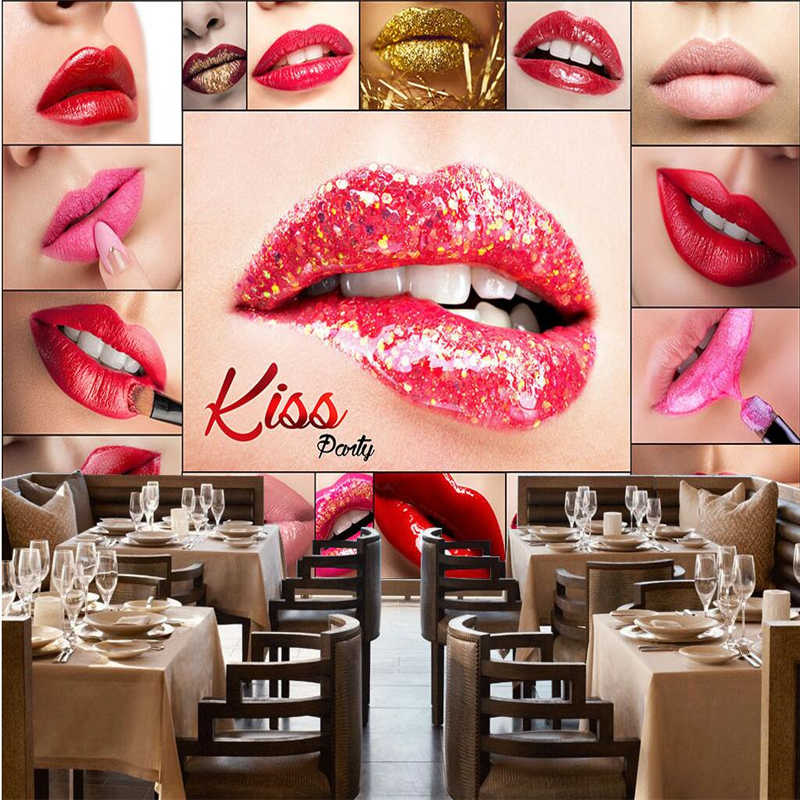 ... beibehang Large wallpaper mural custom any size beauty salon make-up shop lip sexy red ...