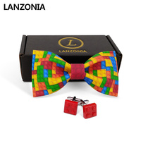Lanzonia Men's Designer Wedding Colorful Toy Print Bowtie and Cufflinks Bow Tie Set