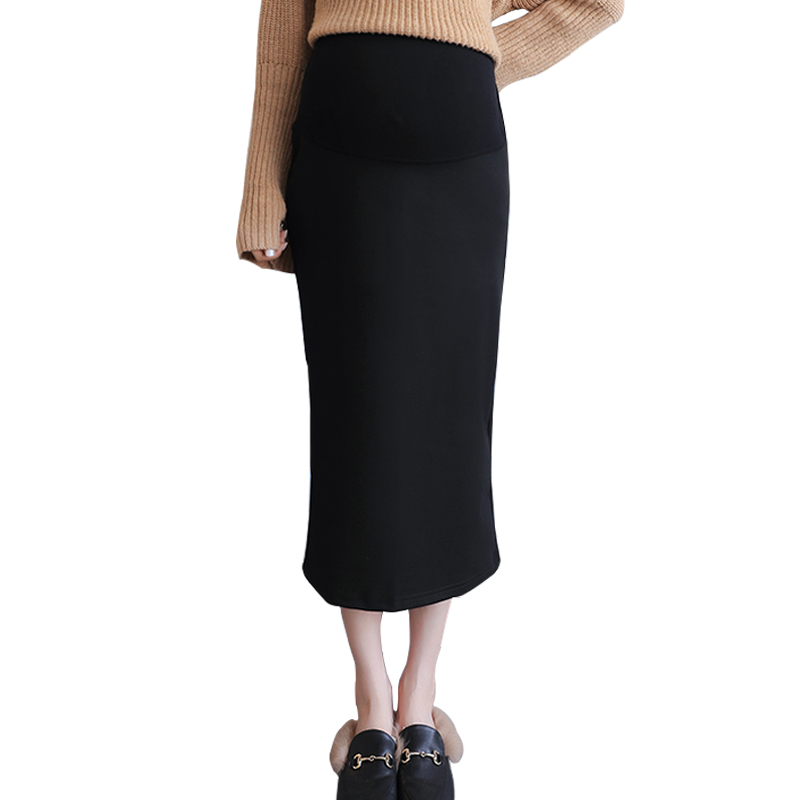 Maternity Skirt For Women Fort Stretch High Waisted Tummy Control Cotton Blend Midi Pencil