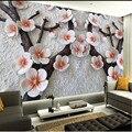Personalizado mural de la pared pintura del arte Moderno de alta calidad mural salón TV telón de fondo fondo de pantalla 3d alivio ciruela papel fotográfico pared