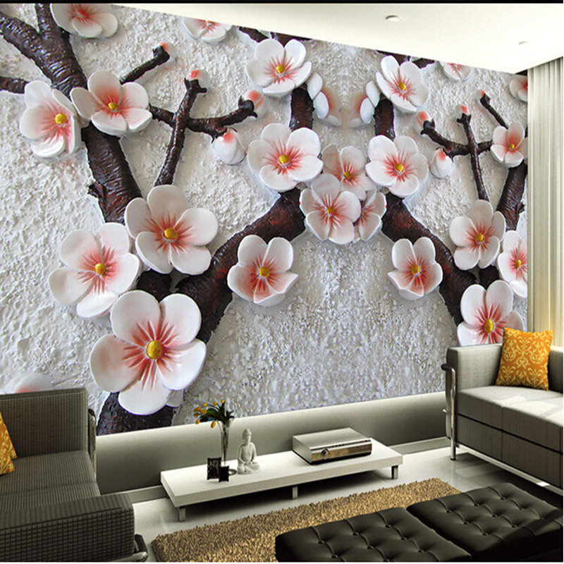 custom wall mural Modern art painting high quality mural wallpaper 3d living room TV backdrop relief plum photo wall paper free shipping custom murals worn coloured wood wall mural bedroom living room tv backdrop wallpaper