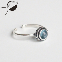 Kissilver S925 Sterling Silver Beads retro opal pierced silver ring opening female literary feel