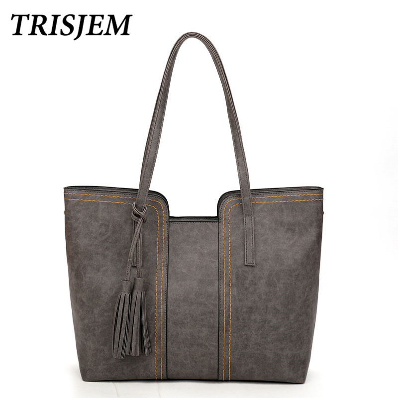 Women Leather Handbags Luxury Brand Bags Pu Leather Female Big Tote Fashion Brown Large Casual Tassel Handbag Bolsa Feminina imido new fashion handbag pu leather bags women casual tote shoulder bag crossbody luxury brand bolsa feminina orange red hdg076