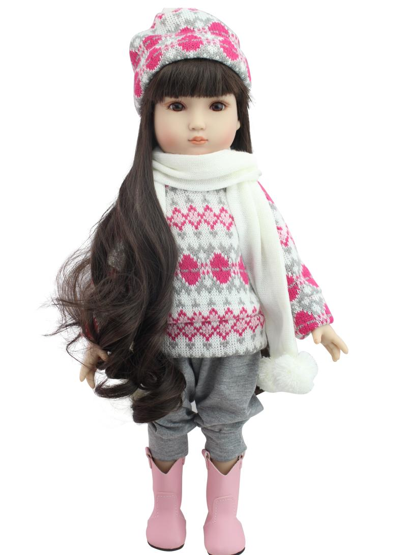 ФОТО Latest 18Inch American Girl Full Vinyl Silicone Doll In Pink Sweater Reborn Baby Doll Can Enter Into Water And Bath With Kids