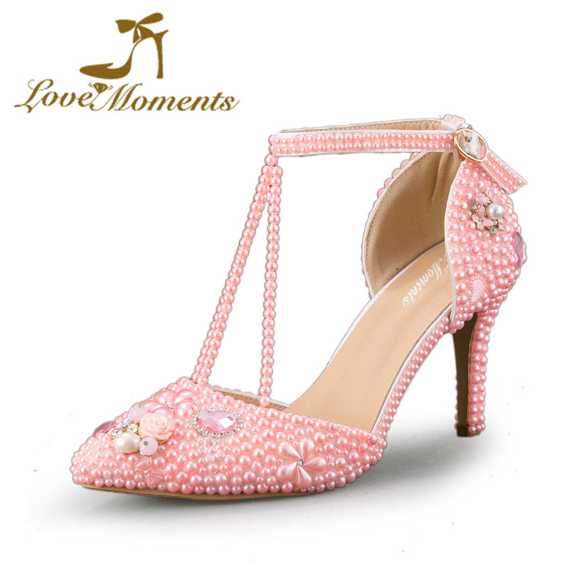 Love Moments Crystal Diamond pearl  High Heels Pointed Toe Pink Wedding Shoes for Bride Women Pumps Dress party shoes