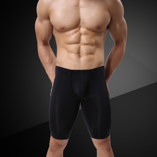 Сексуальный мужской мешочек нижнее белье длинные ноги боксер короткие леггинсы белый черный телесный темно-синий шелковистый Гладкий - Цвет: Черный
