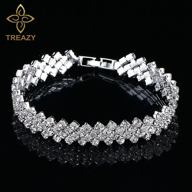 Treazy elegant silver color crystal bracelets for women waving treazy elegant silver color crystal bracelets for women waving bridal bracelets bangles wedding engagement jewelry junglespirit Gallery