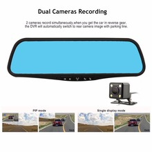 Car DVR 4.3 Inch Auto Camcorder Dash Cam FHD 1080P Rearview Mirror Digital Video Recorder Dual Lens Registratory