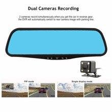 Car DVR 4.3 Inch Auto Camcorder Dash Cam FHD 1080P Rearview Mirror Digital Video Recorder Dual Lens Registratory