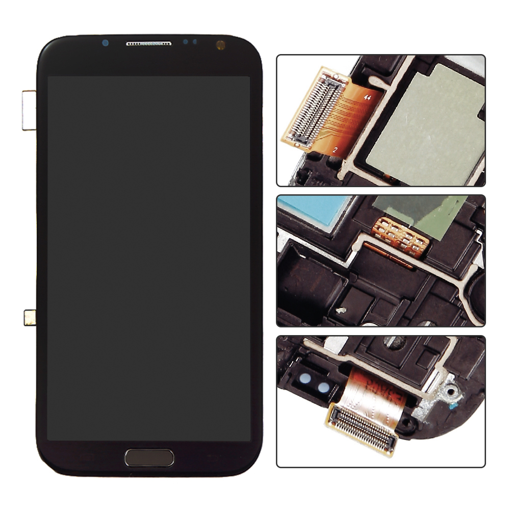 imágenes para Gris Para Samsung Galaxy Note II 2 N7105 I317 Digitalizador Pantalla LCD Táctil con el Marco Del Bisel + Botón de Menú asamblea