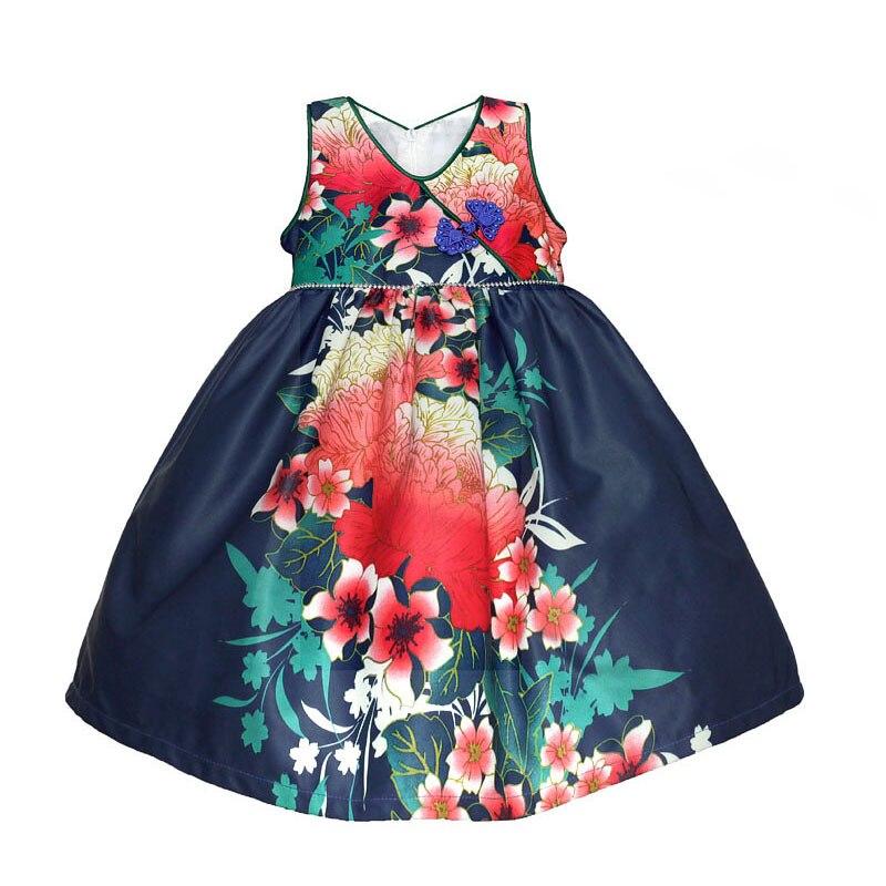 16fd167f2a3 Fleur Impression Filles Robes Doux Soie Fille Partie Robe V-cou Diamant  Ceinture Enfants Vêtements costume pour enfants pour 3-8 T