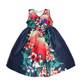 Flower Print Girls Dresses Soft Silk Girl Party Dress V-Neck Diamond Belt Children Clothing costume for kids for 3-8T