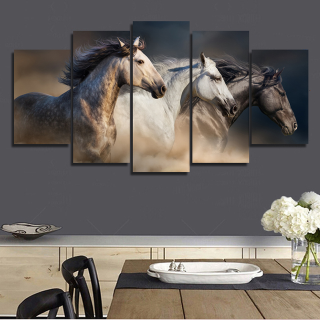 5 Panels HD Printed Three Horse Wall Art Painting Canvas Print Room Decor  Print Poster Picture