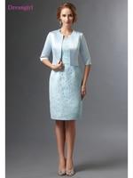 Blue 2018 Mother Of The Bride Dresses Sheath Satin Lace With Jacket Plus Size Short Elegant Groom Mother Dresses Wedding