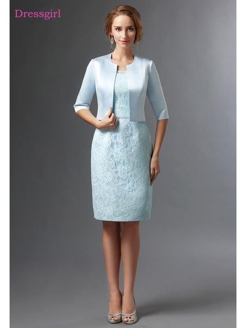 Blue 2019 Mother Of The Bride Dresses Sheath Satin Lace With Jacket Plus Size Short Elegant Groom Mother Dresses Wedding