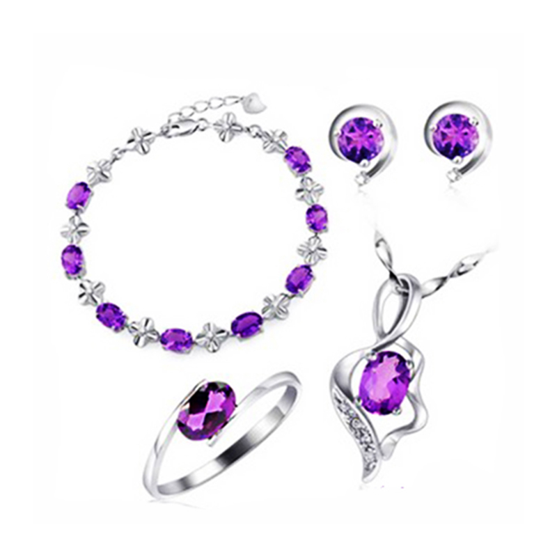 Romantic Crystal jewelry Sets Elegant beautiful purple semi-precious gem stone Amethyst Jewelry Earrings Nacklace Bracelet RingRomantic Crystal jewelry Sets Elegant beautiful purple semi-precious gem stone Amethyst Jewelry Earrings Nacklace Bracelet Ring