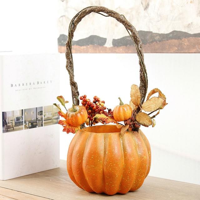 Vintage Artificial Pumpkin Flower Pots Pumpkin Vases Halloween Home