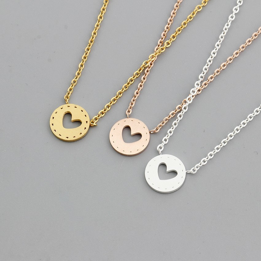 Gold Color Stainless Steel Heart Button Pendant Necklace Modern Minimalist Design Women Jewelry Valentines Day Gift Necklace
