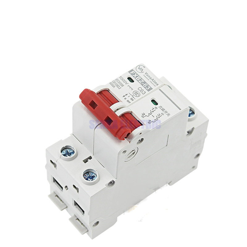 2P DC 1000V Solar Mini interruptor de circuito 6A/10A/16A/20A/25A/32A/40A/50A/63A DC MCB para el sistema PV