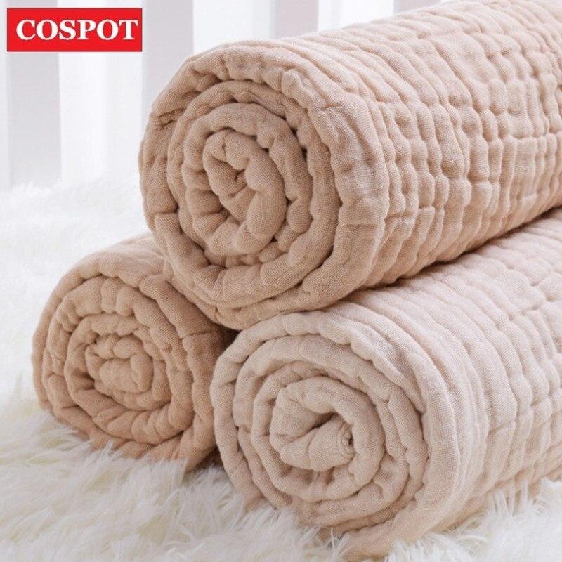 COSPOT recién nacido muselina manta Infante Bebes 100% algodón 6 capas de gasa Toalla de baño bebé Swaddle mantas sostener envolturas 2019 nuevo 45D