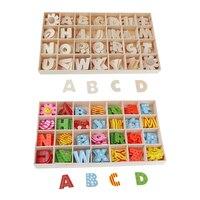 112 штук деревянные буквы алфавита детские развивающие игрушки с лотком для хранения