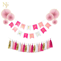 Nicro 1 Set Pink 3M Birthday Letter Banner Flags Light Pink Hanging 3pcs Lot Gold Foil