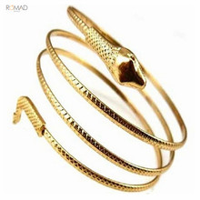 Romad Gold Snake Bracelet Punk Fashion Coiled Spiral Serpent Cuff Bangle For Women Girl Armband Jewelry Gift W3