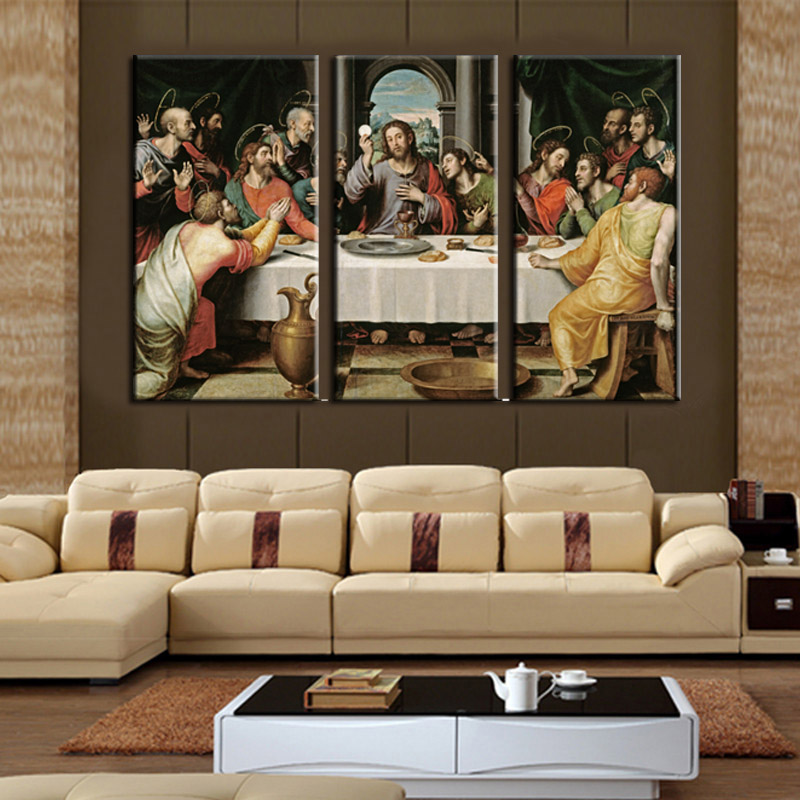 The Last Supper Wall Art cheap modern paintings 3 piece wall art on canvas printed oil