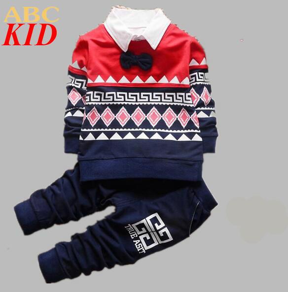 Otoño Invierno de Los Bebés Que Arropan Caballero Muchachos Del Niño de Manga Larga Traje Trajes Bowknot Top Pantalón Largo Para Niños KC156