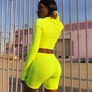 Image 3 - SheBlingBling Neon Fitness 2 Piece Set Women Clothing Set Long Sleeve Crop Tops Gym High Waist Shorts Cycling Set Female Outfits