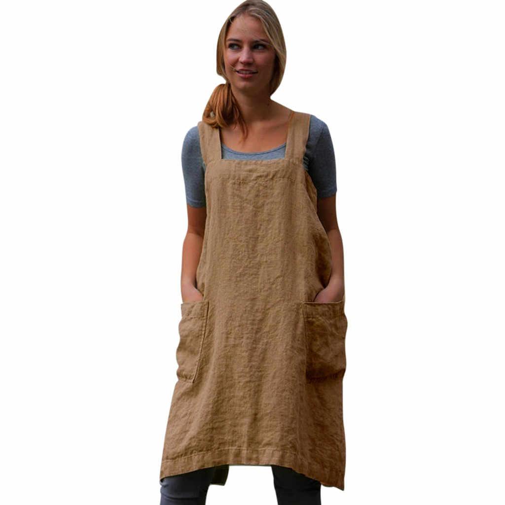 Фартук для кухни и ресторана хлопковый льняной сарафан квадратный крест фартук-платье домашний сад работа фартук 19APR22