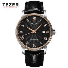 Oline ведущих мировых брендов мужские часы TEZER настоящее кожаный ремешок 60 м водонепроницаемый кварцевые наручные часы мужчины платье часы часы коробки