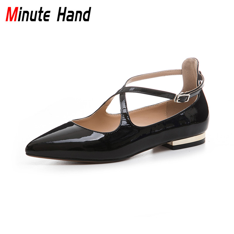 Minute Hand 2018 New Fashion Genuine Patent Leather Pointed Toe Ballet Flats Cross Strap Buckle Casual Flat Shoes Big Size 33-43 odetina 2017 new summer ankle strap ballet flats buckle women mary jane shoes round toe casual flat shoes sweet big size 34 43