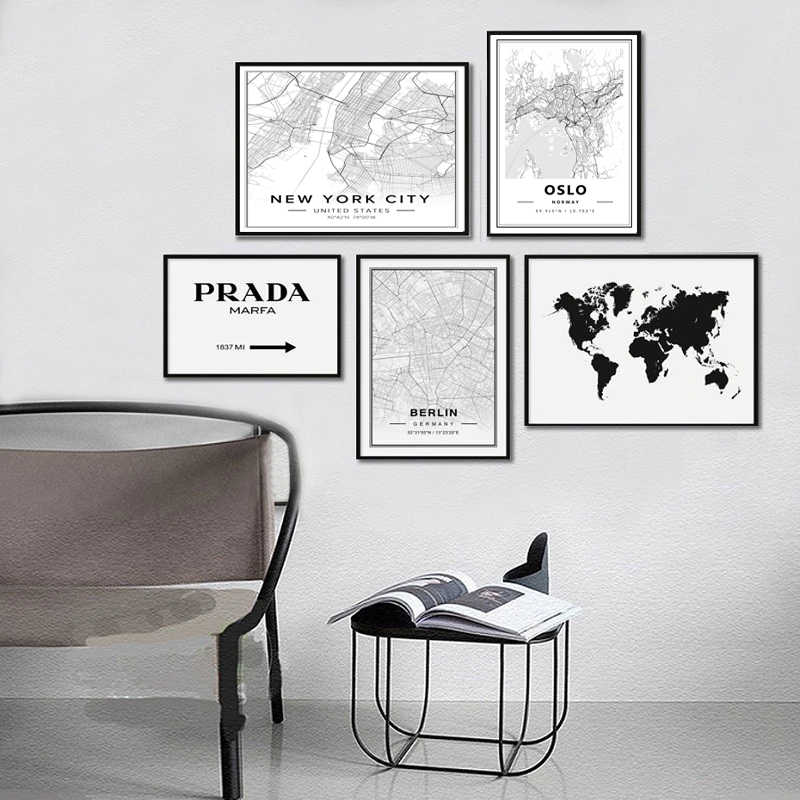 SURE LIFE Nordic Minimalist World Famous City Map Canvas Paintings Berlin Oslo Poster Print Wall Art Pictures Kids Room Decor