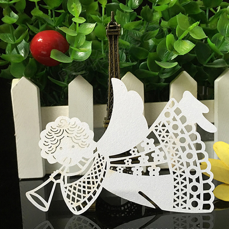 10 Colos 50pcs Angel Shaped Laser Cut Table Mark Wine Glass Name Place Cards Wedding Birthday Baby Shower Party Favor Supplies (4)
