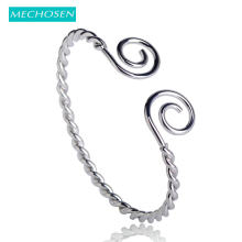MECHOSEN Pretty Fashion Thin Bangles For Women Girls Simple Personality Brass Silver Color Open Design pulseiras bisuteria joyas(China)