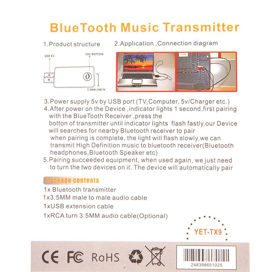 Bluetooth Music Transmitter Audio Signal 3 5mm Cable Wiring Diagram Converter 35mm For Computer Tv Usb Adapter In Wireless From Consumer