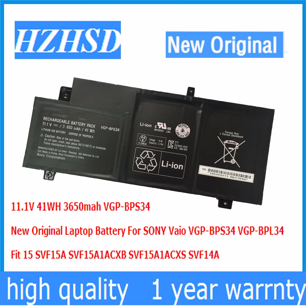 11.1V 41WH 3650mah New Original Laptop Battery For SONY Vaio VGP-BPS34 VGP-BPL34 Fit 15 SVF15A SVF15A1ACXB SVF15A1ACXS SVF14A new original vgp bpsc27 laptop battery for sony bps27 bpsc27 vpcz21v9e vpcz21v9e vpcz21m9e vpcz21 vpcz214gx vpcz213gx 11 1v 49wh